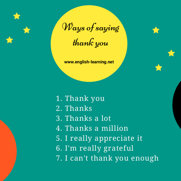 Ways of saying thank you. Say thank you