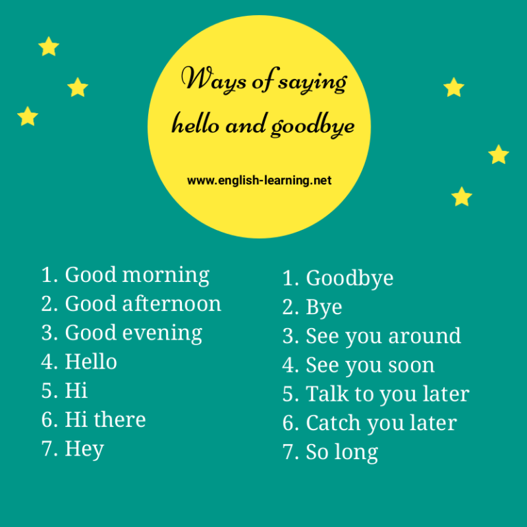 Ways of saying hello and goodbye