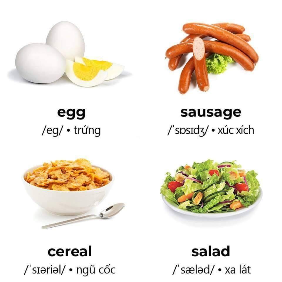 Tên tiếng anh các món ăn