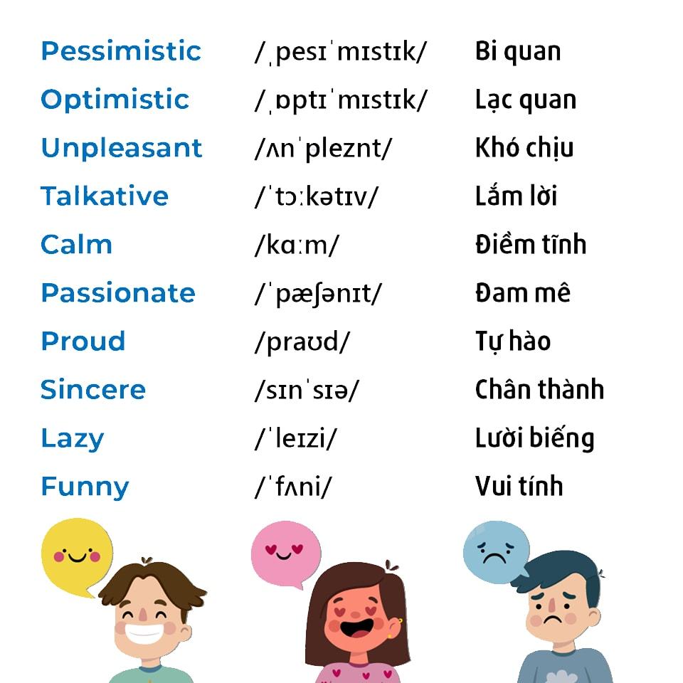 Tính từ chỉ tính cách Tiếng Anh